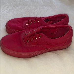 All Red Authentic Vans ❤️